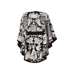 ALEXANDER MCQUEEN black & white NAIVE PAGAN JACQUARD KNIT CAPE Jacket S