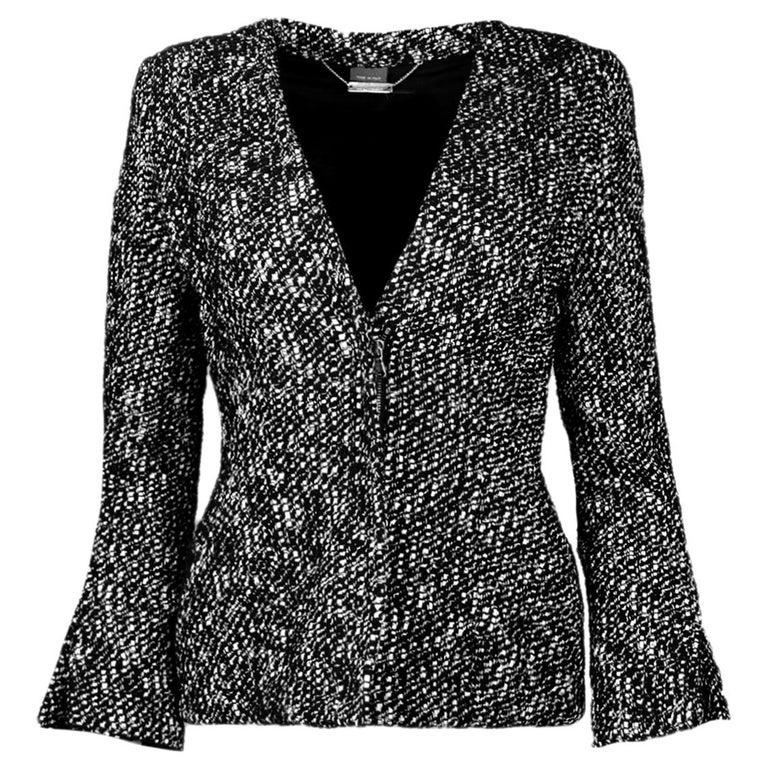 Alexander McQueen Black & White Tweed Front-Zip Jacket sz IT40 For Sale
