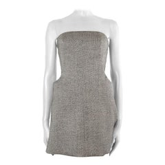 ALEXANDER MCQUEEN black & white wool BUSTIER MINI Dress 42
