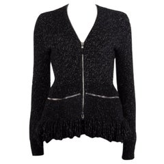 ALEXANDER MCQUEEN black white wool cashmere ZIP FRONT Cardigan Sweater M