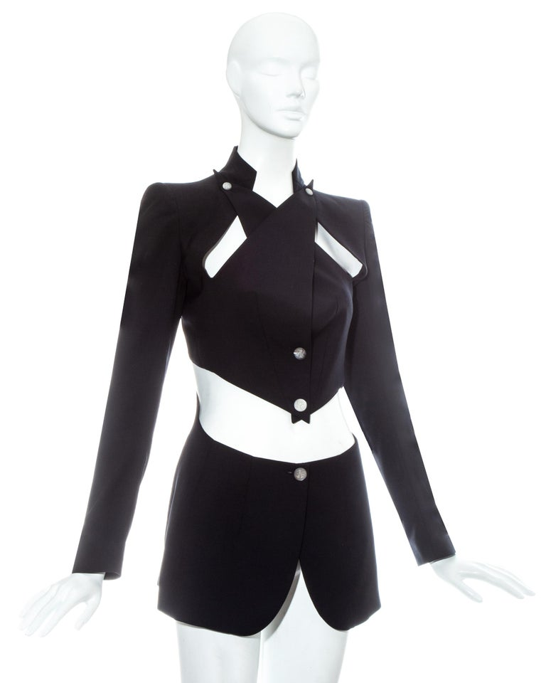 Black Alexander McQueen black wool blazer jacket with cut outs, ss 1999 For Sale