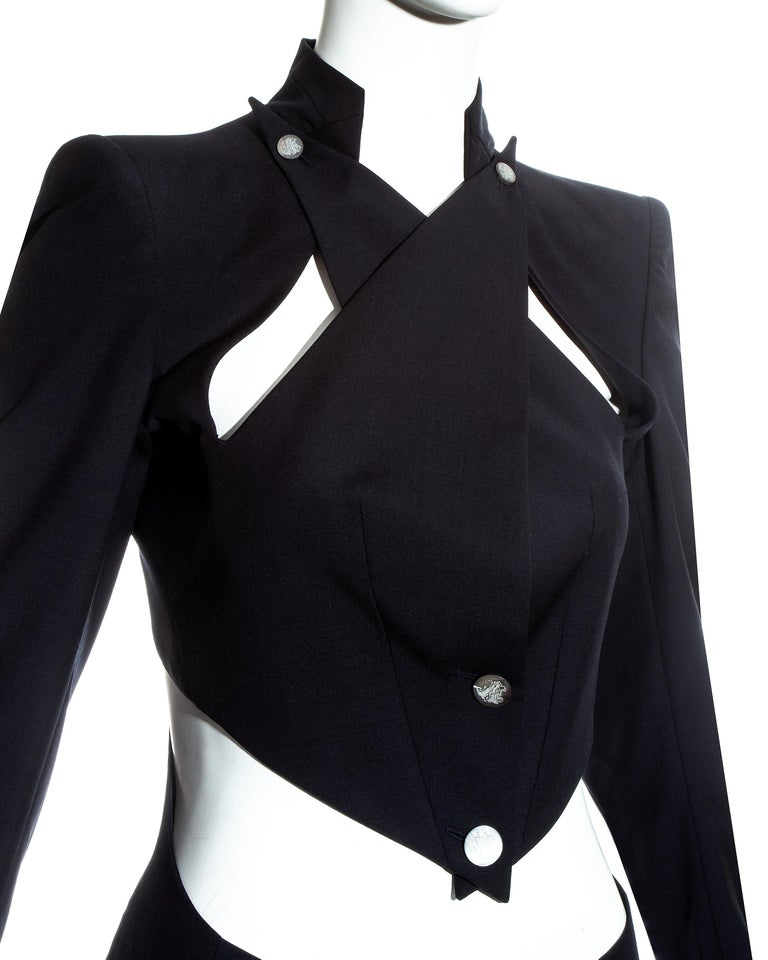 Alexander McQueen black wool blazer jacket with cut outs, ss 1999 In Excellent Condition For Sale In London, London