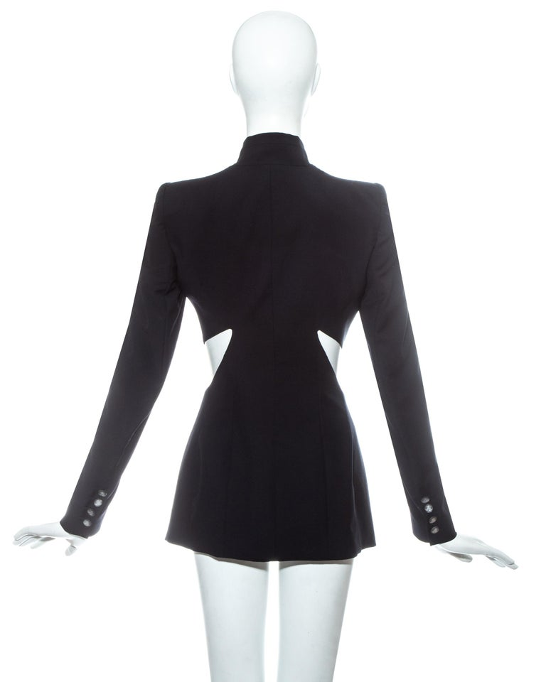 Women's Alexander McQueen black wool blazer jacket with cut outs, ss 1999 For Sale