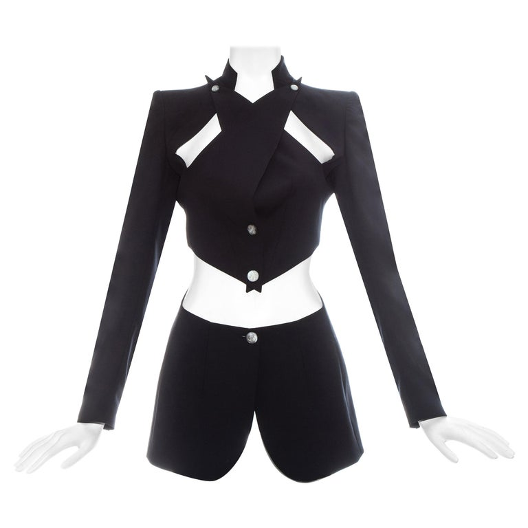 Alexander McQueen black wool blazer jacket with cut outs, ss 1999 For Sale