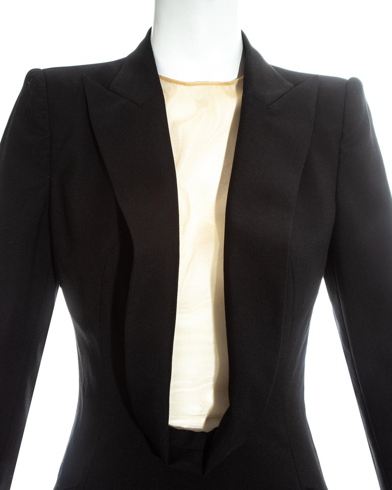 Alexander McQueen black wool blazer mini dress with shawl lapel, ss 1998 For Sale 1