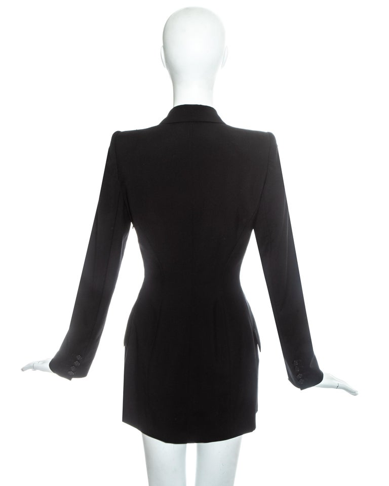 Alexander McQueen black wool blazer mini dress with shawl lapel, ss 1998 For Sale 2