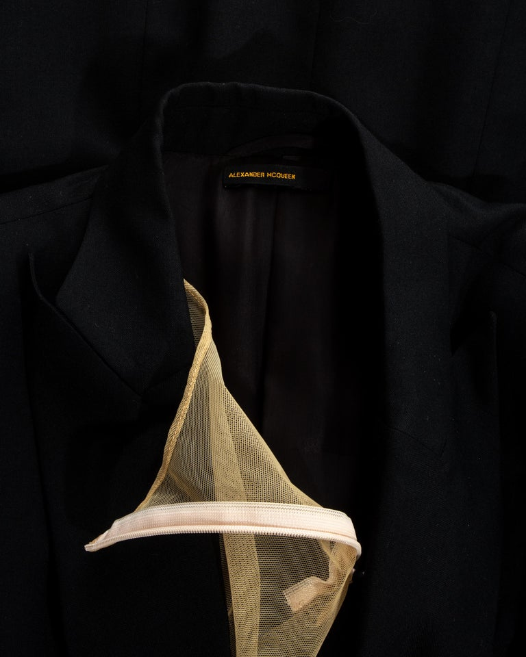 Alexander McQueen black wool blazer mini dress with shawl lapel, ss 1998 For Sale 4