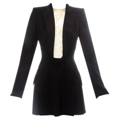 Alexander McQueen black wool blazer mini dress with shawl lapel, ss 1998