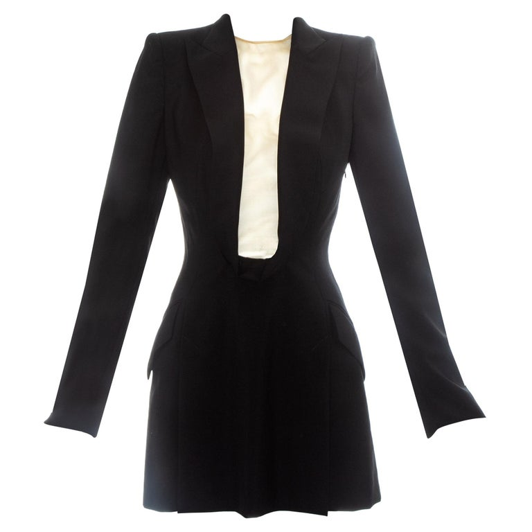 Alexander McQueen black wool blazer mini dress with shawl lapel, ss 1998 For Sale