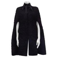 Alexander McQueen black wool blend QUILTE ROSE KNIT Cape Jacket One Size