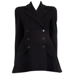 ALEXANDER MCQUEEN black wool cashmere DOUBLE BREASTED Coat Jacket 44 L