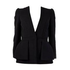 ALEXANDER MCQUEEN black wool COLLARLESS Blazer Jacket 40