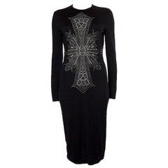 ALEXANDER MCQUEEN black wool CROSS Long Sleeve KNIT Dress M
