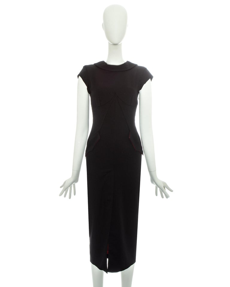 Alexander McQueen black wool 'Joan' dress with open back, fw 1998 In Good Condition For Sale In London, GB