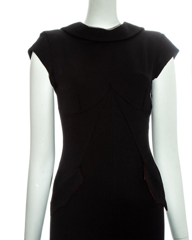Women's Alexander McQueen black wool 'Joan' dress with open back, fw 1998 For Sale