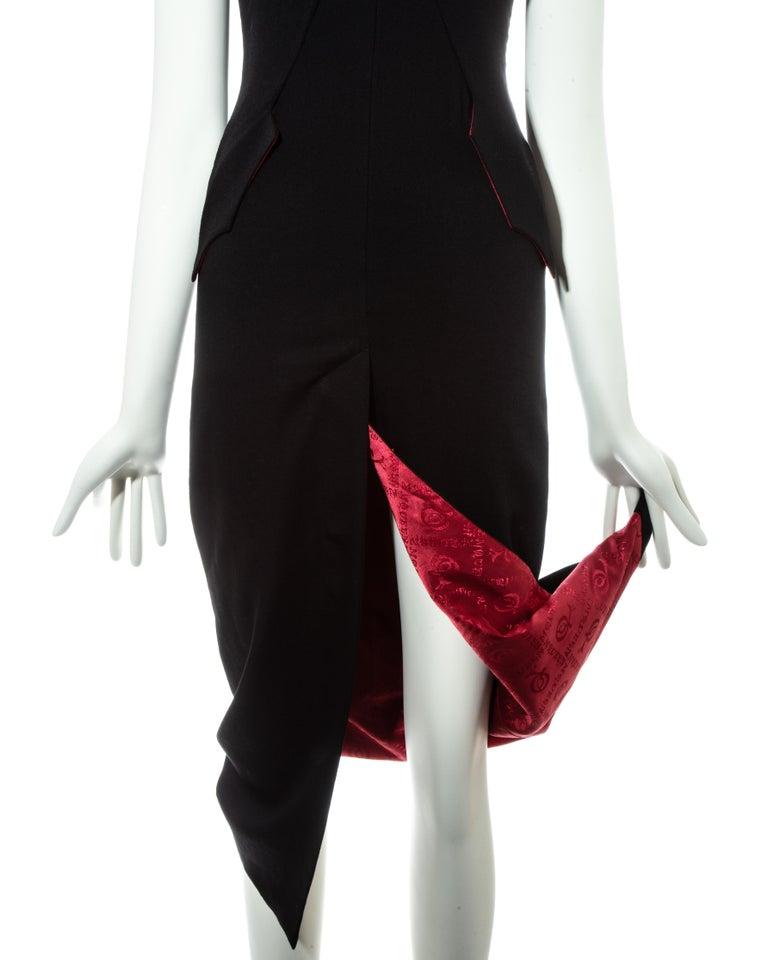 Alexander McQueen black wool 'Joan' dress with open back, fw 1998 For Sale 1