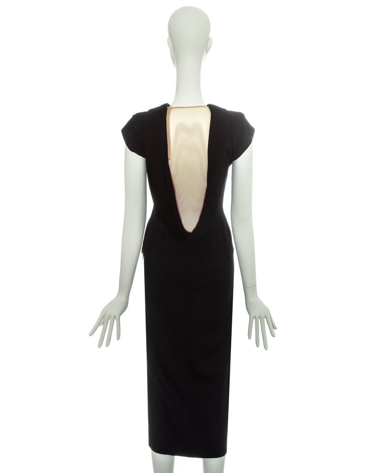 Alexander McQueen black wool 'Joan' dress with open back, fw 1998 For Sale 3