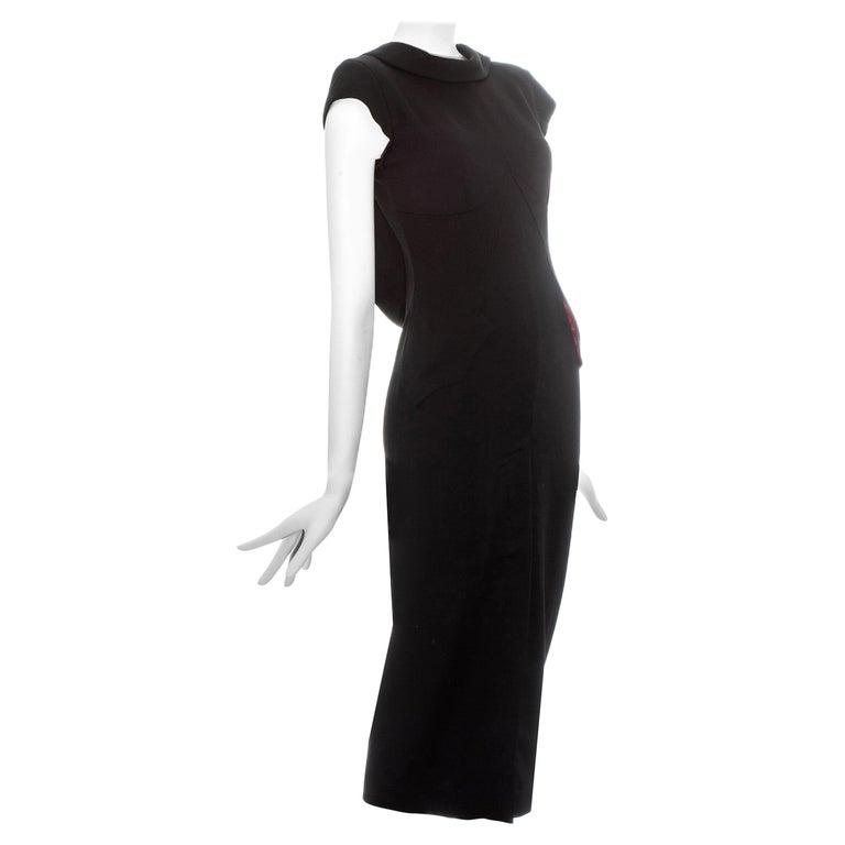 Alexander McQueen black wool 'Joan' dress with open back, fw 1998 For Sale