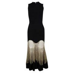 Alexander McQueen Black Wool Metallic Crochet Lace Insert Sleeveless Maxi Dress