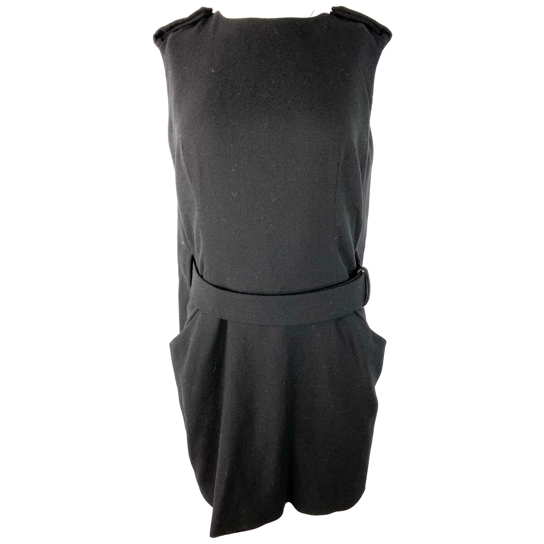 Alexander McQueen Black Wool Mini Cape Dress, Size 44