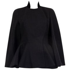 ALEXANDER MCQUEEN black wool PEPLUM Cape Jacket 42 M