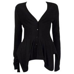 Alexander McQueen black wool PEPLUM Cardigan Sweater S