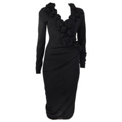 ALEXANDER MCQUEEN black wool ROSE EMBELLISHED KNIT Dress M