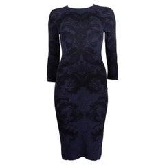 ALEXANDER MCQUEEN blue & black DAMASK KNIT Dress S