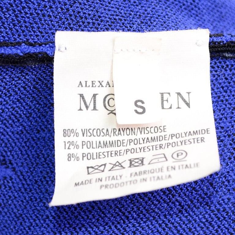 Alexander McQueen Blue & Black Spine Print Intarsia Knit Bodycon Sheath Dress For Sale 6