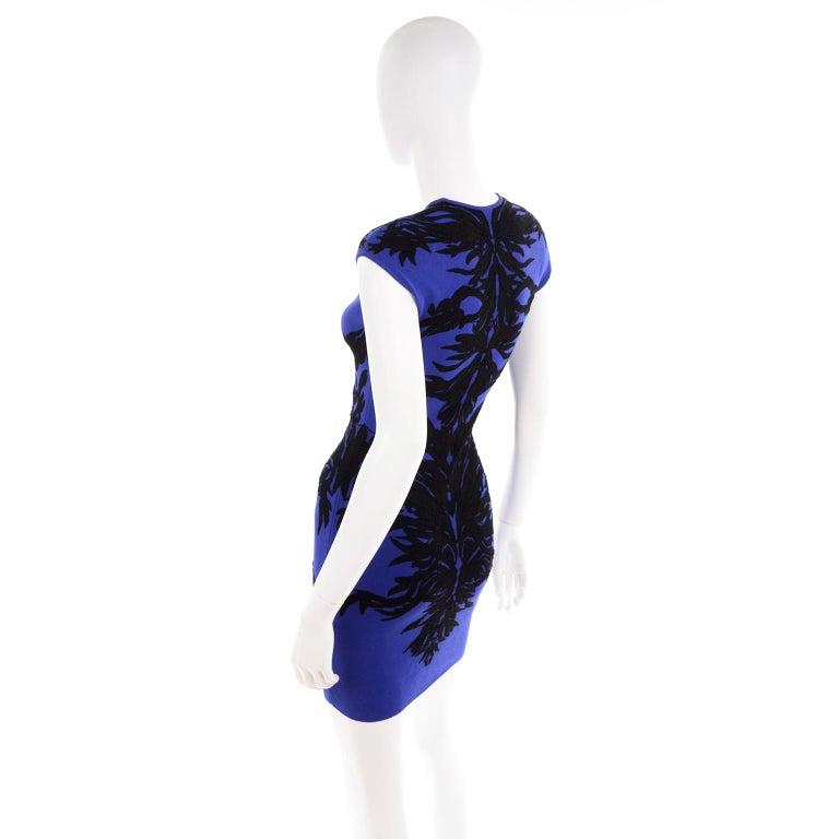 Women's or Men's Alexander McQueen Blue & Black Spine Print Intarsia Knit Bodycon Sheath Dress For Sale