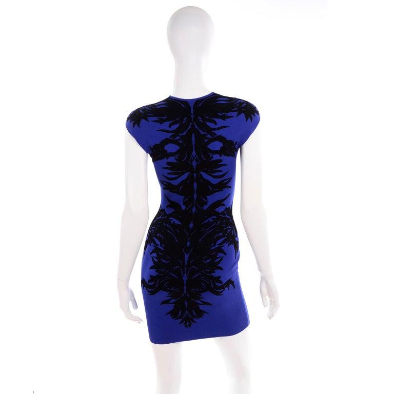 Alexander McQueen Blue & Black Spine Print Intarsia Knit Bodycon Sheath Dress For Sale 1