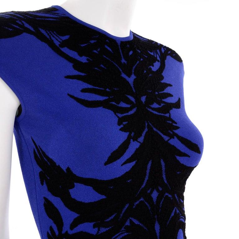 Alexander McQueen Blue & Black Spine Print Intarsia Knit Bodycon Sheath Dress For Sale 3