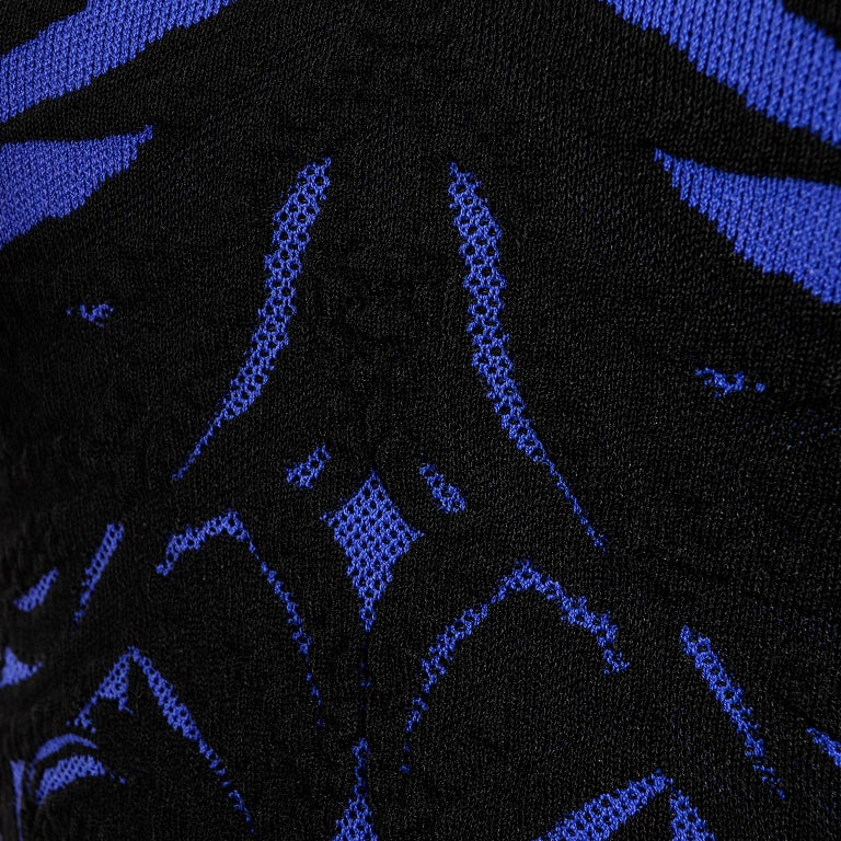Alexander McQueen Blue & Black Spine Print Intarsia Knit Bodycon Sheath Dress For Sale 5