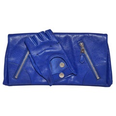 Alexander McQueen Blue Calfskin Faithful Glove Clutch