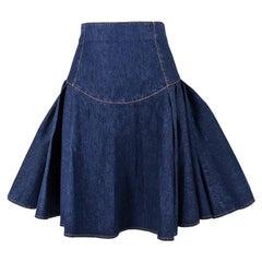 Alexander McQueen Blue Denim Flared Skirt