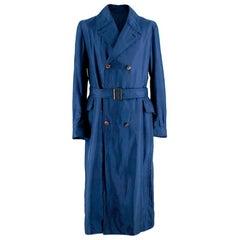 Alexander McQueen Blue Distressed Trench Coat