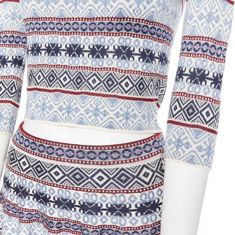 ALEXANDER MCQUEEN blue ethnic intarsia cropped top lace insert skirt dress M Brand: Alexander Mcqueen Designer: Sarah Burton Model Name / Style: Knitted dress Material: Silk blend Color: Blue Pattern: Other; ethnic pattern Extra Detail: Lace insert