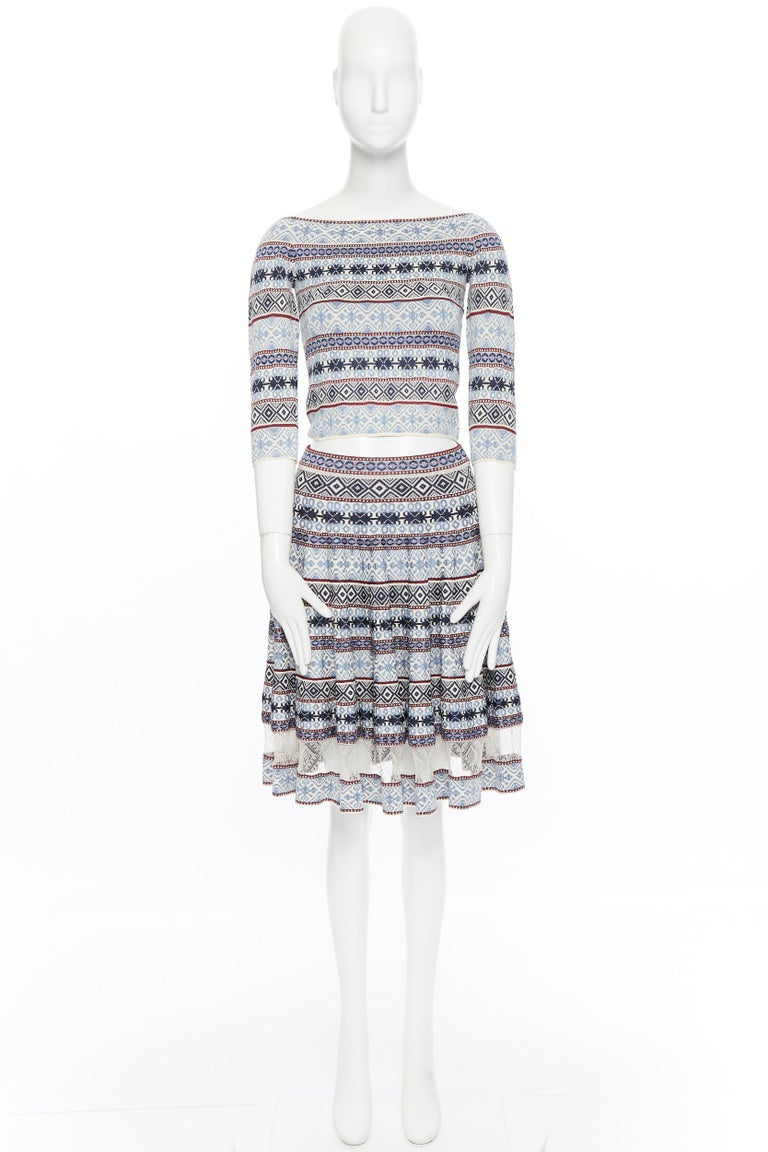 Gray ALEXANDER MCQUEEN blue ethnic intarsia cropped top lace insert skirt dress M For Sale