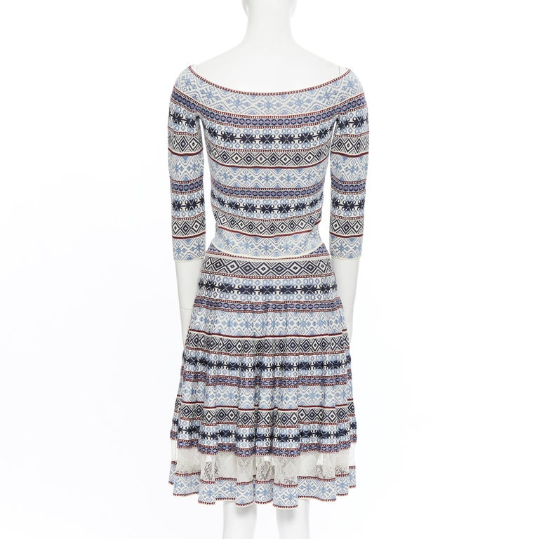 ALEXANDER MCQUEEN blue ethnic intarsia cropped top lace insert skirt dress M For Sale 1