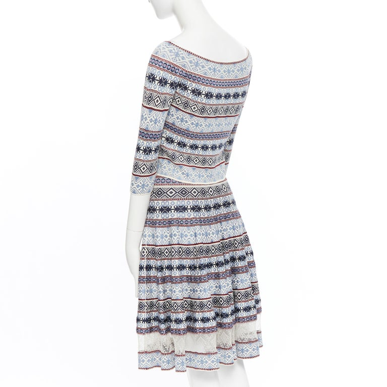 ALEXANDER MCQUEEN blue ethnic intarsia cropped top lace insert skirt dress M For Sale 2