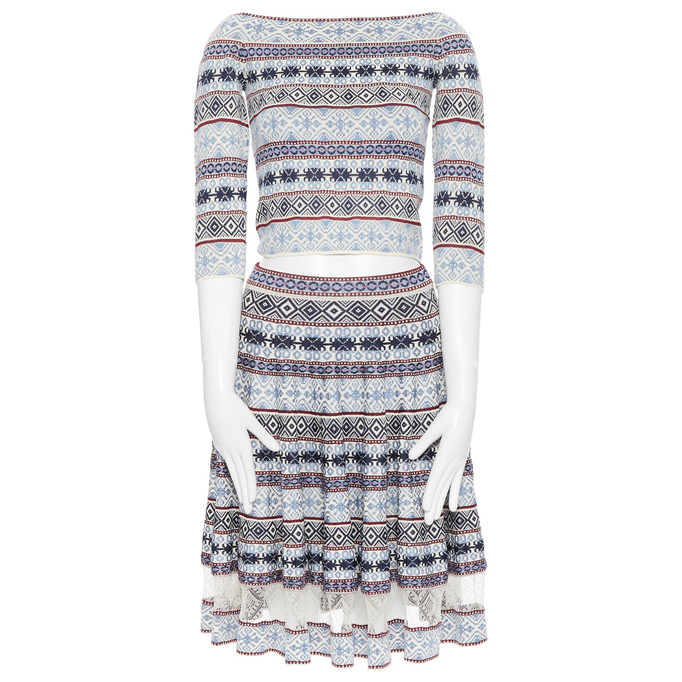 ALEXANDER MCQUEEN blue ethnic intarsia cropped top lace insert skirt dress M