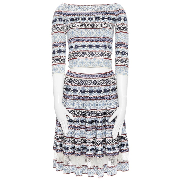 ALEXANDER MCQUEEN blue ethnic intarsia cropped top lace insert skirt dress M For Sale
