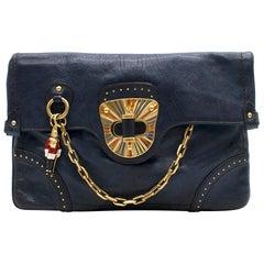Alexander McQueen Blue Leather Clutch Bag