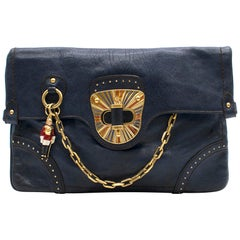 Alexander McQueen Blue Leather Clutch Bag