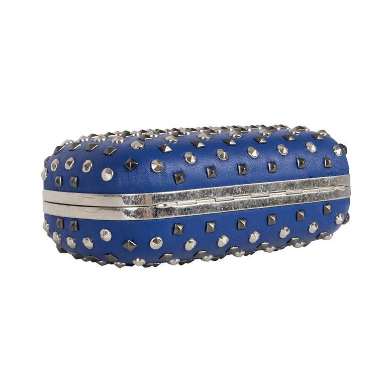 Women's ALEXANDER MCQUEEN blue leather STUDDED CRYSTAL SKULL Box Clutch Bag For Sale