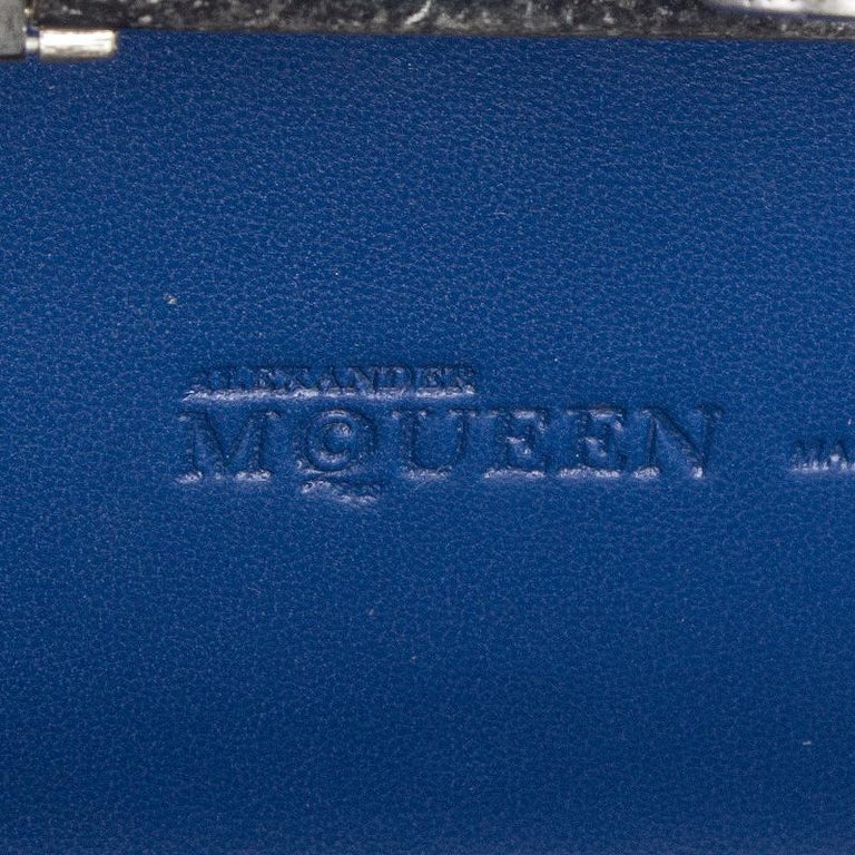 ALEXANDER MCQUEEN blue leather STUDDED CRYSTAL SKULL Box Clutch Bag For Sale 2
