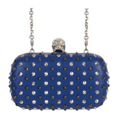 ALEXANDER MCQUEEN blue leather STUDDED CRYSTAL SKULL Box Clutch Bag
