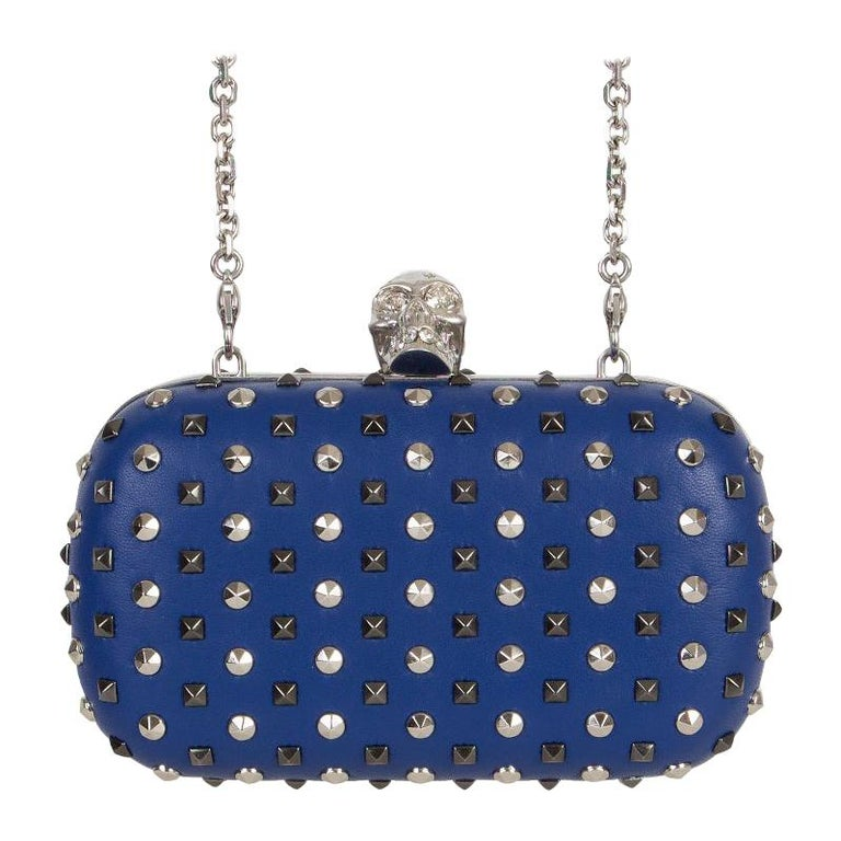 ALEXANDER MCQUEEN blue leather STUDDED CRYSTAL SKULL Box Clutch Bag For Sale
