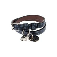 Alexander McQueen Blue Printed Leather Skull Charm Double Wrap Bracelet