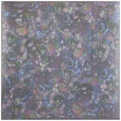 ALEXANDER MCQUEEN blue purple silk chiffon ROSE PRINT Scarf